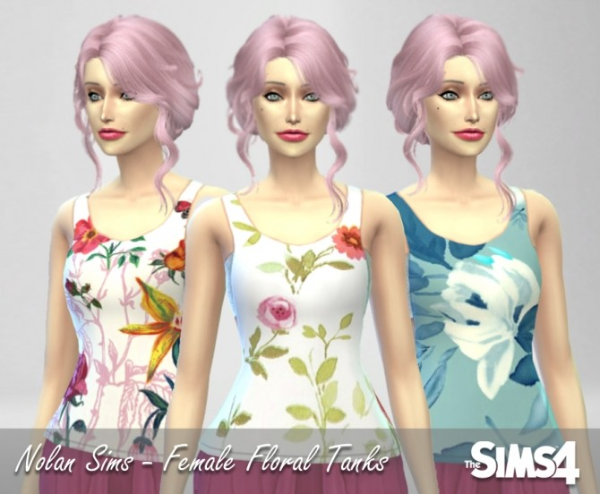Sims 4 Floral patterned GTW Tank with the Bandeau at Nolan Sims