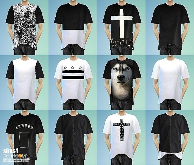 Sims 4 Black & white boxy T shirts at Marigold