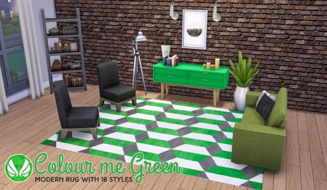 Colour Me Green Modern Rugs at Simsational Designs image 9117 670x390 Sims 4 Updates