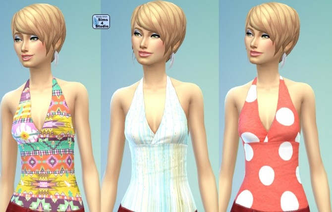 Female Halter Top in 10 Geometric Patterns by wendy35pearly at Mod The Sims image 9219 670x428 Sims 4 Updates