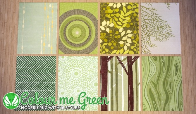 Sims 4 Colour Me Green Modern Rugs at Simsational Designs