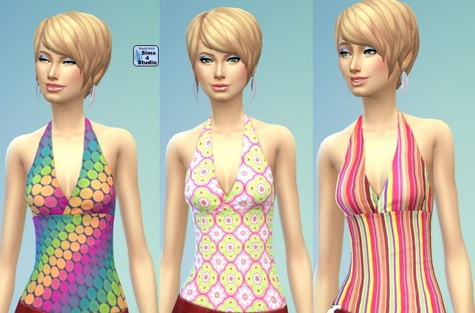 Female Halter Top in 10 Geometric Patterns by wendy35pearly at Mod The Sims image 9318 670x442 Sims 4 Updates