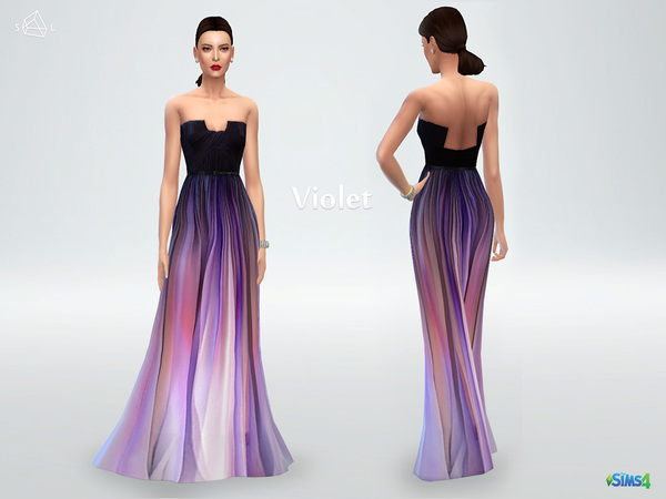 Sims 4 Silk ombre gown Violet by starlord at TSR
