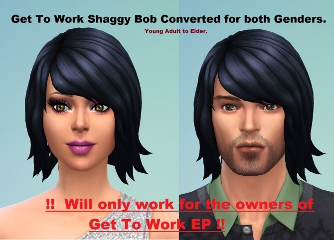 Sims 4 Get To Work Shaggy Bob Converted by mummy 001 at Mod The Sims
