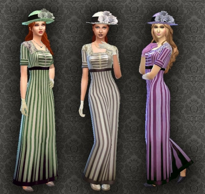 Sims 4 Edwardian Fashion 01 Conversion + Gloves + Hat at My Stuff