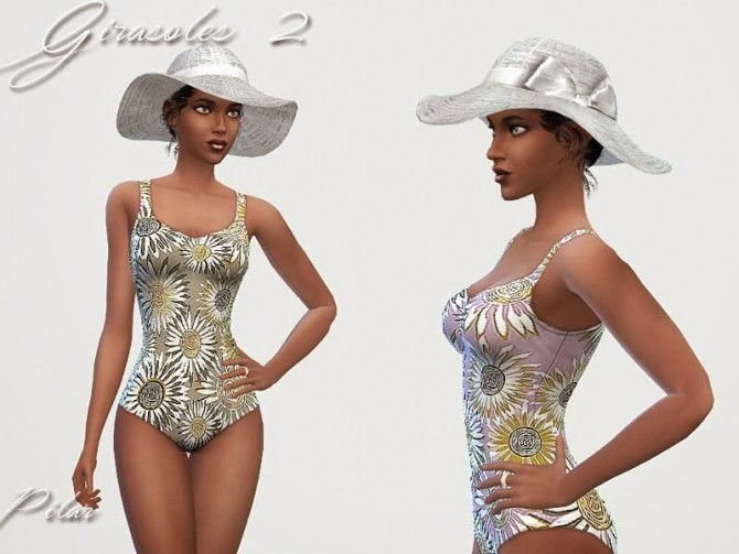 Sims 4 Sunflower swimsuits by Pilar at SimControl