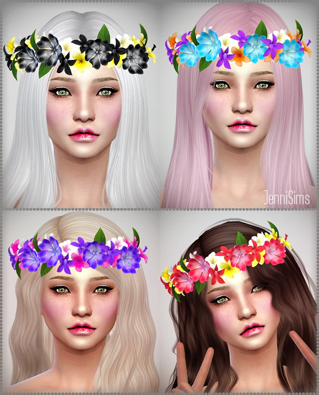 Sims 4 Crown diadem of flowers at Jenni Sims