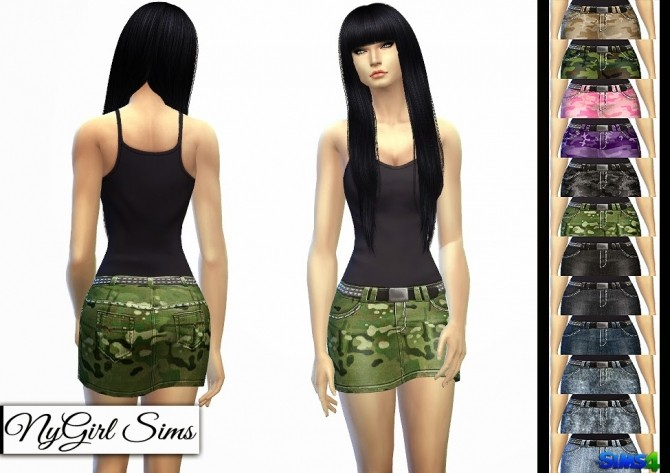 Sims 4 Stitched and Studded Denim Mini at NyGirl Sims