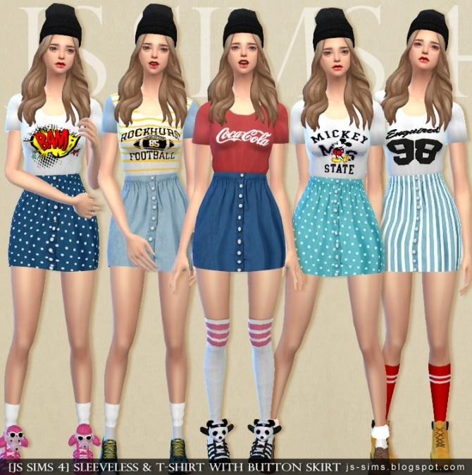 Sleeveless T Shirt With Button Skirt At Js Sims 4 Sims 4 Updates