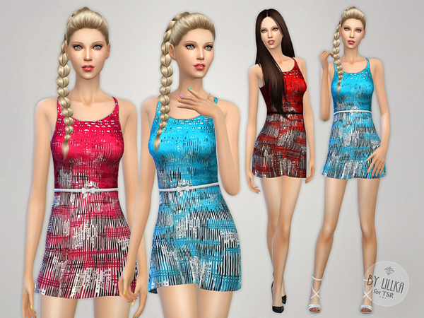 Sims 4 Printed Stretch Dress by lillka at TSR