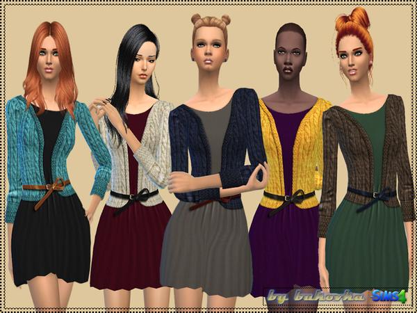 Sims 4 Dress with Cardigan by bukovka at TSR