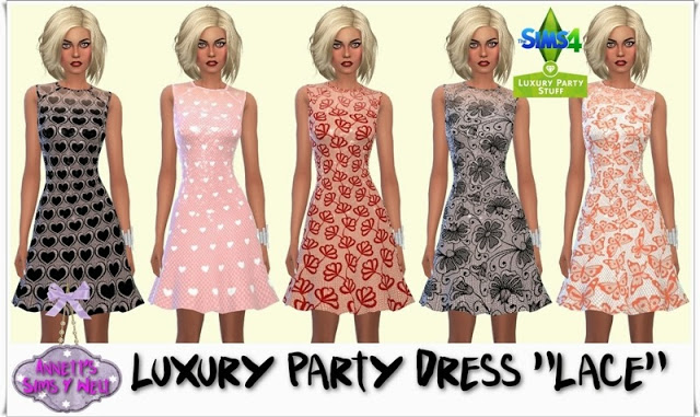 Sims 4 Luxury Party Dress Lace at Annett's Sims 4 Welt