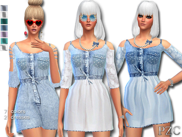 Sims 4 Denim Jeans Dress by Pinkzombiecupcakes at TSR