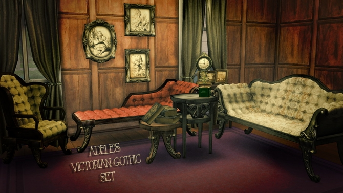 Adele 39 s victorian gothic set at femme jean sims 4 updates for 3 star living room chair sims