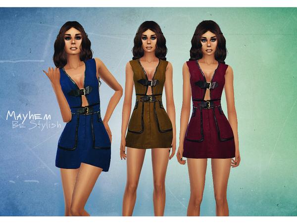 Sims 4 Buckle Apron Dress by NataliMayhem at TSR