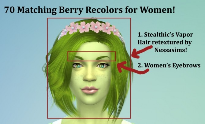 70 Matching Berry Recolors for Women! (Hair/Eyebrows) at The Simsperience image 12519 670x405 Sims 4 Updates