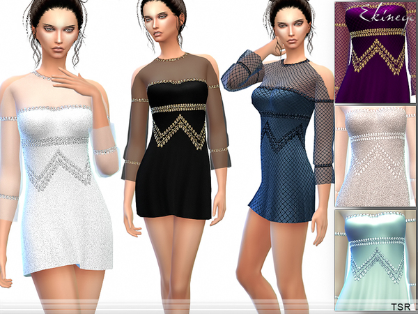 Cold Shoulder Dress by ekinege at TSR image 12610 Sims 4 Updates