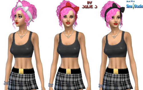 Sims 4 3to4 Bow Hair updated at Julietoon – Julie J
