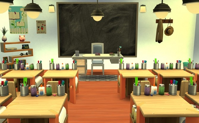 Sims 4 Two dogs and an olive painting blackboard recolor by nightstar at Mod The Sims