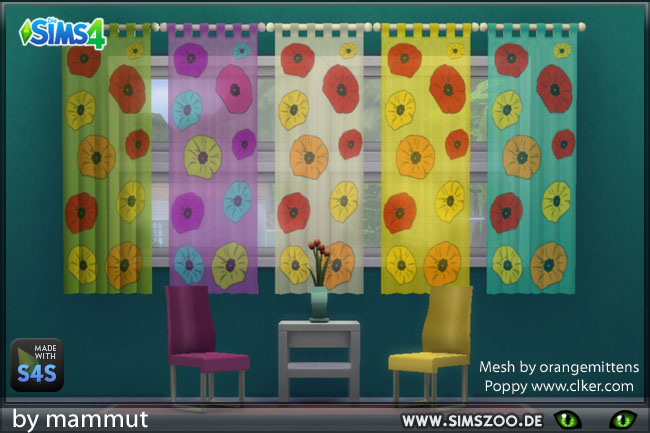 Sims 4 Curtain sheerpanel Poppy by mammut at Blacky's Sims Zoo