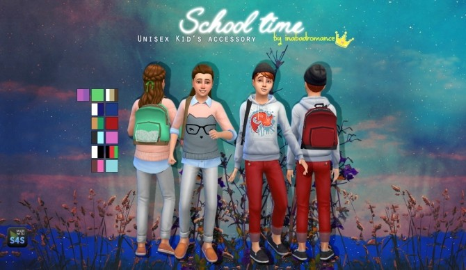 Sims 4 School time backpack at In a bad Romance