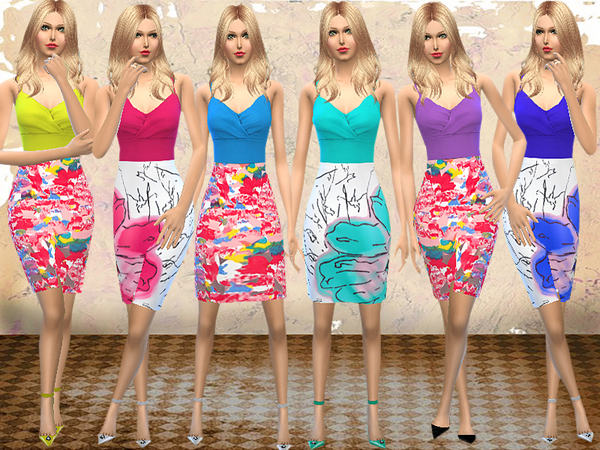 Sims 4 Floral Color Block Dress by melisa inci at TSR
