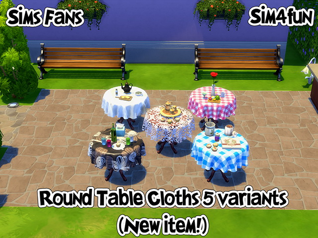 Sims 4 Round Tablecloths by Sim4fun at Sims Fans