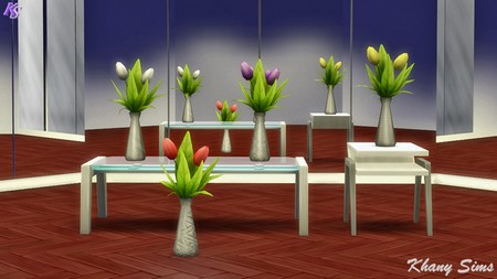 Sims 4 Vases and tulips recolors at Khany Sims