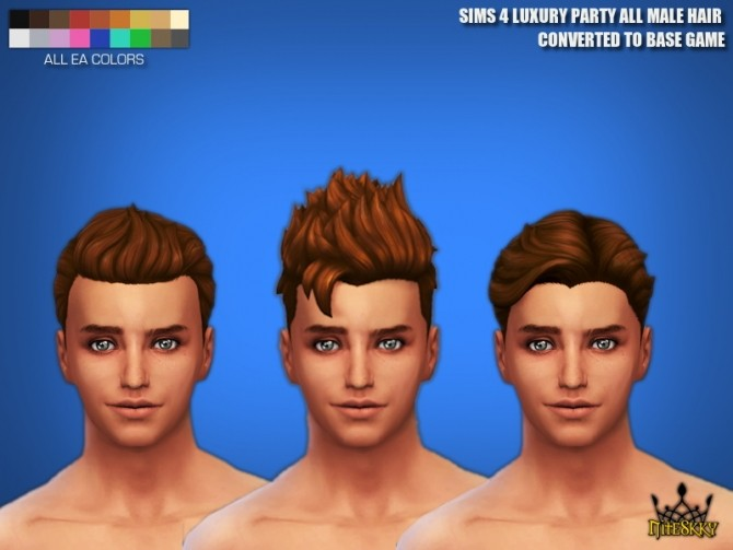 Sims 4 SIMS 4 LUXURY PARTY ALL MALE HAIR CONVERTED TO BASE GAME at NiteSkky Sims