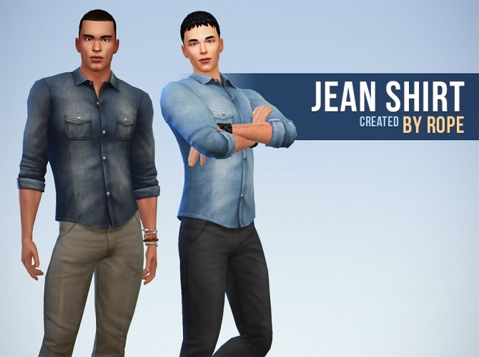 Denim shirt for males at Simsontherope image 1446 670x500 Sims 4 Updates