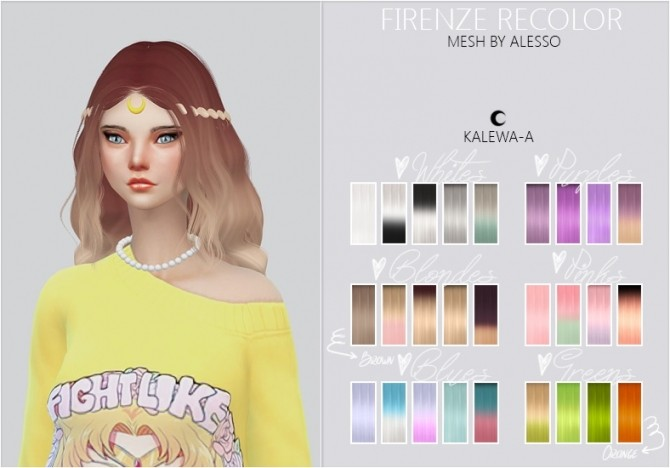 Sims 4 Firenze hair recolor at Kalewa a