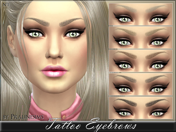 Sims 4 Tattoo Eyebrows by Pralinesims at TSR