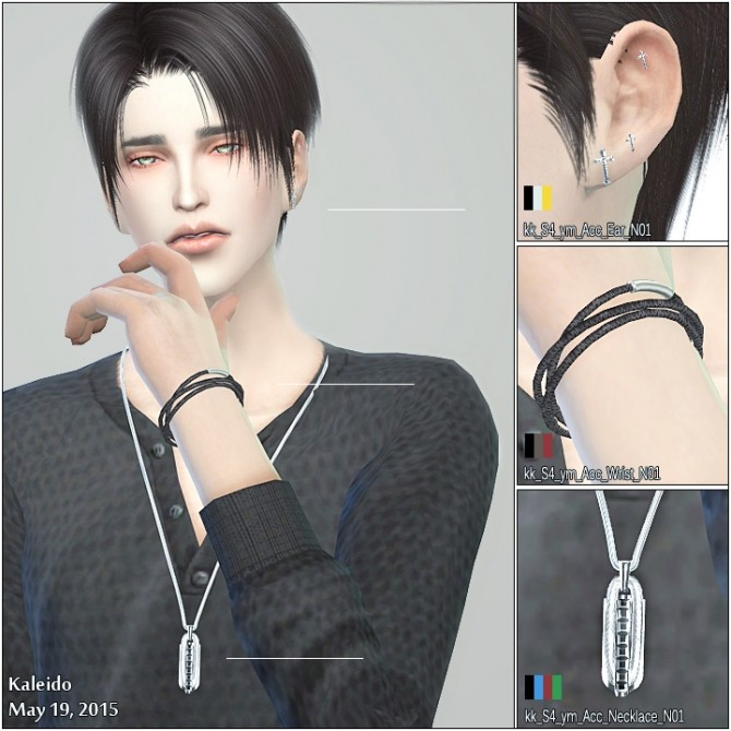Sims 4 Earrings, bracelet and necklace by Kaleido at KK Sims