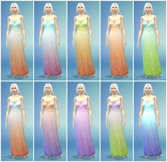 Sims 4 10 Long Luxury Dress Recolors at The Simsperience