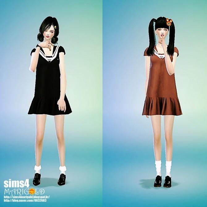 Sailor Collar Onepiece At Marigold 187 Sims 4 Updates