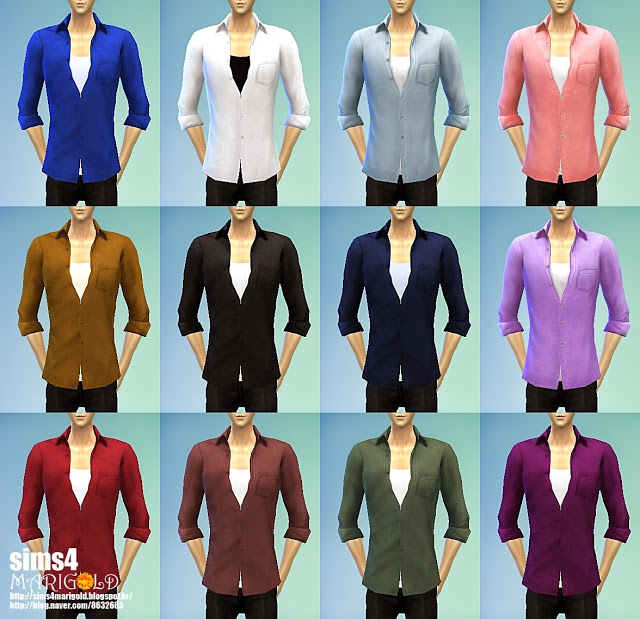 Open button shirts at Marigold image 15615 Sims 4 Updates