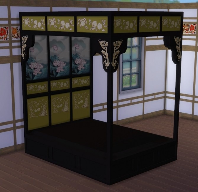 Sims 4 Asian Bed Frame by lexiconluthor at Mod The Sims