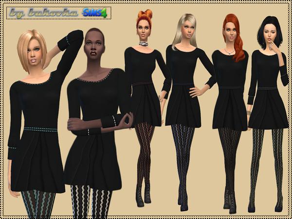 Sims 4 Set Dress and Tights by bukovka at TSR