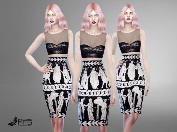 Sims 4 MFS Christina Dress by MissFortune at TSR