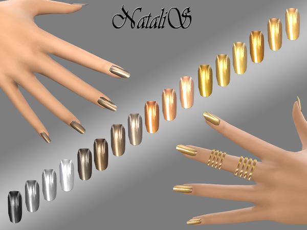 Sims 4 MIrrored metallic nails by NataliS at TSR