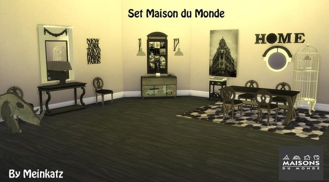 Set maison du monde at meinkatz creations sims 4 updates for Maison du monde facebook