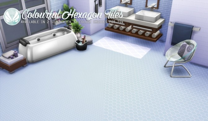 Sims 4 Colourful Hexagon Tiles at Simsational Designs