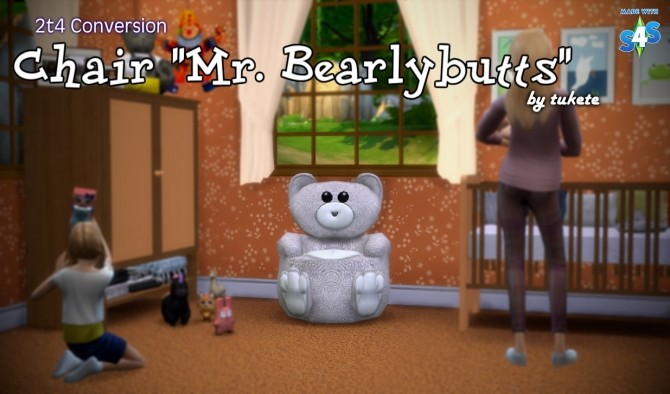 Sims 4 Mr. Bearlybutts chair conversion at Tukete