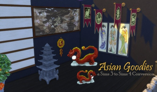 Sims 4 Asian Deco Goodies at Leander Belgraves