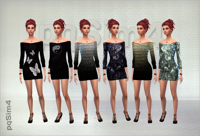 Sims 4 Dress with boat neckline at pqSims4
