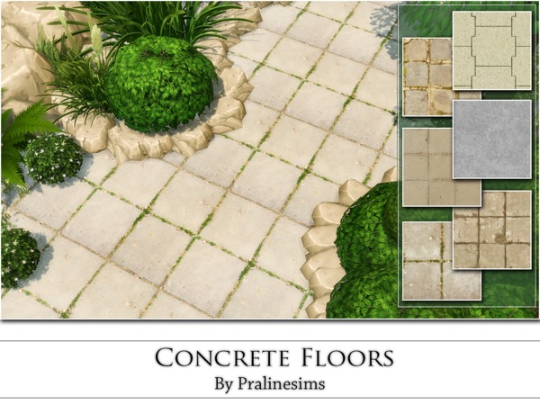 Sims 4 Concrete Floors by Pralinesims at TSR