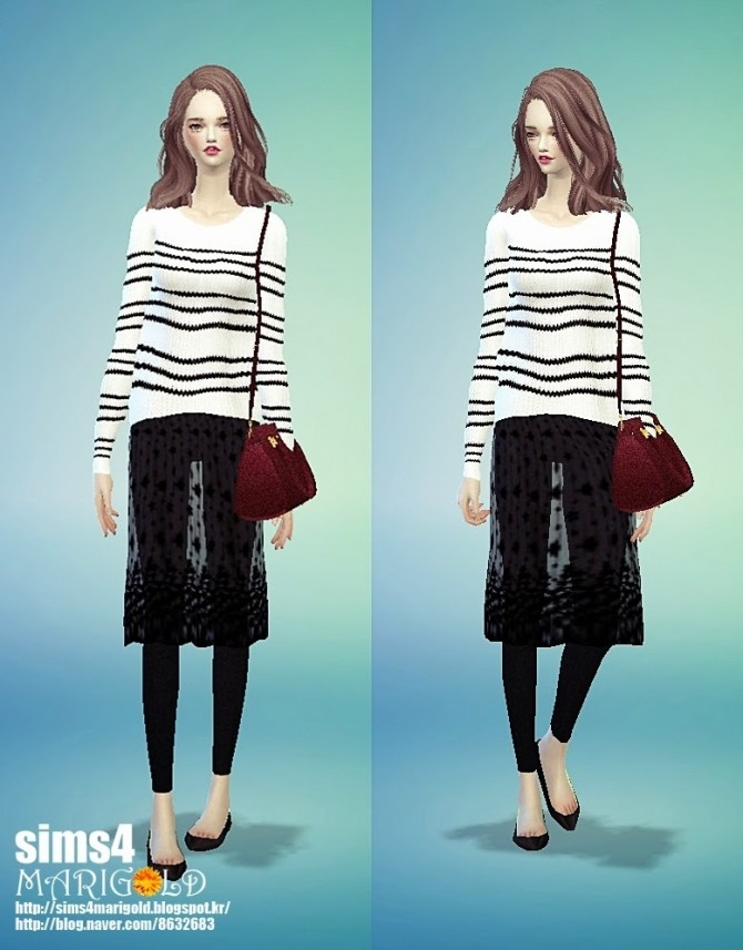 Sims 4 Lace h line skirt with leggings at Marigold
