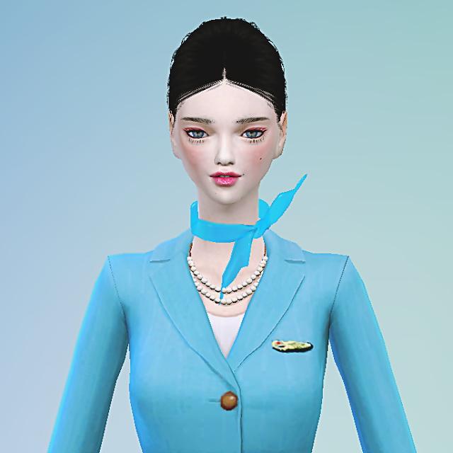 Sims 4 Korean stewardess scarf at Marigold