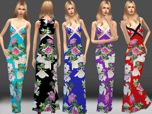 Bouquet Print Maxi Dress by melisa inci at TSR image 20 Sims 4 Updates