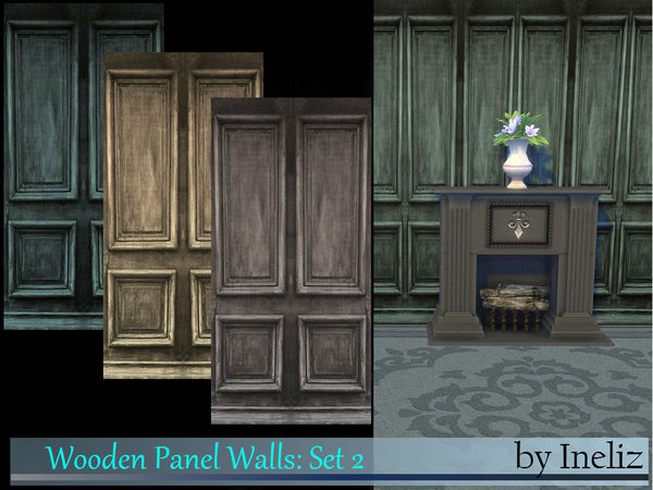 Sims 4 Wooden Panel Walls Set 2 by Ineliz at TSR